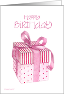 Pink Giftbox Birthday card