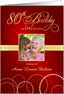 80th Birthday Party Invitations with Your Custom Photo - Elegant Red & Gold card