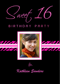Sweet 16 Birthday Party Invitations with Your Custom Photo - Hot Pink Zebra Stripes on Black Greeting Card