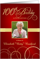 100th Birthday Party Invitations with Your Custom Photo - Elegant Red and Gold card