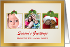 Season's Greetings - Holiday Greeting Cards with 3 Custom Photo Frames - Elegant Gold with Holly card