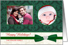 Happy Holidays - Holiday Greeting Cards with 2 Custom Photo Frames - Elegant Gold with Holly card