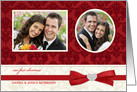 Our First Christmas - Holiday Greeting Cards with 2 Custom Photo Frames - Elegant Gold with Holly card