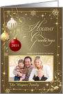 Holiday Season Greetings Cards with Custom Photo - Elegant Antique Gold with Monogram card