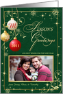 Season's Greetings - Personalized Holiday Greeting Cards with Custom Photo - Elegant Antique Green & Gold with Monogram card