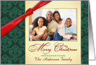 Merry Christmas - Personalized Holiday Greeting Cards with Custom Photo - Vintage Damask Green & Gold card