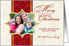 Merry Christmas - Personalized Holiday Greeting Cards with Custom Photo - Vintage Damask Ivory, Red & Gold card