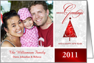 Season's Greetings - Personalized Holiday Photo Greeting Cards - Contemporary Red & White card