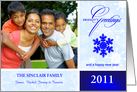 Season's Greetings - Personalized Holiday Photo Greeting Cards - Contemporary Blue & White card