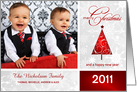 Merry Christmas - Personalized Holiday Photo Greeting Cards - Contemporary Red & White card