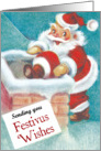Santa Climbs Down the Chimney Festivus Card