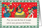 Retro-Style Holiday Revelers Festivus Card