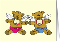 Twin Baby Girl & Boy Little Angel Card