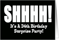 34th Birthday Surprise Party Invitation card