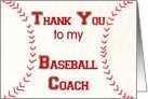 Thank You to my Baseball Coach card