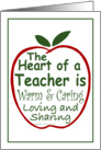Heart of a Teacher - blank note card