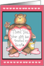 Zachary Bear Thank You Card with Hearts card