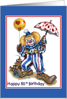 Clown, 80th Birthday card