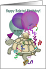 Turtle and snail cartoon belated birthday card. card