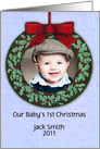 YOUR Custom Photo Baby's 1st Christmas Ornament Keepsake card