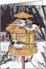 Chickadees Winter Bird Feeder Painting Christmas Greetings card