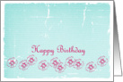 Happy Birthday Pink Aqua Aster Flower Drawing card