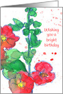 Happy Birthday Red Pink Poppy Wildflower Watercolor Drawing card