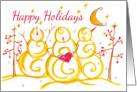 Happy Holidays Christmas Snowmen Primitive Tree Crescent Moon card