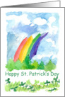 Happy St. Patrick's Day Rainbow Clover Watercolor Art card