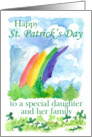 Happy St. Patrick's Day Daughter and Family Rainbow Art card