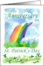 Happy Anniversary on St. Patrick's Day Rainbow Clover Watercolor Art card