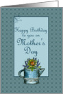 Happy Birthday on Mother's Day Flower Bouquet Watercolor Art card