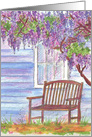 Wisteria Blooming Tree Country Scene Blank Watercolor Notecard card