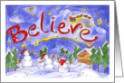 Merry Christmas Believe Santa's Sleigh Snowmen Snowy Night card