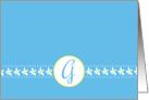 Monogram Letter G Blank Card White Flower Blossoms card
