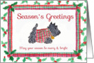 Season's Greetings Scottie Dog Holly Scottish Plaid card