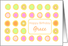 Happy Birthday Grace Bright Flowers Colorful Polka Dots card