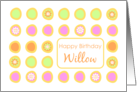 Happy Birthday Willow Bright Flowers Colorful Polka Dots card