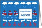 Happy Birthday Custom Name Card Sailboats Fish Red White Blue card
