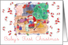Baby's First Christmas Santa Toys Candy Canes Watercolor Illustration card