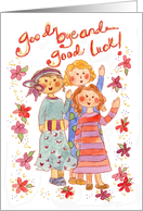 Good Bye and Good Luck Girlfriends Watercolor Flower Illustration card