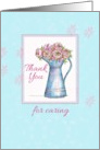 Thank You For Caring Rose Bouquet Vintage Pitcher Illustration card