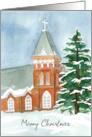 Happy Holidays Blue Stripe Modern Christmas Tree Watercolor Art card