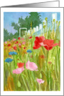 Happy Birthday Friend Red Pink Poppy Flowers Watercolor Painting card