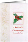 Season's Greetings From All of Us Holly Botanical Watercolor Art card
