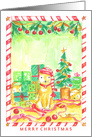 Merry Christmas Whimsical Pet Cats Family Tree card
