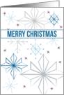 Merry Christmas Snowflakes Blue Grey Purple White card