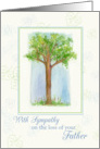 With Sympathy For Loss of Father Tree Watercolor Illustration card