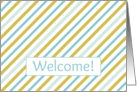 Business Card Welcome Employee Blue Gold Diagonal Stripe card