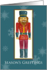 Season's Greetings Nutcracker Watercolor Painting Snowflakes card